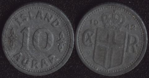 Исландия 10 аурар 1942