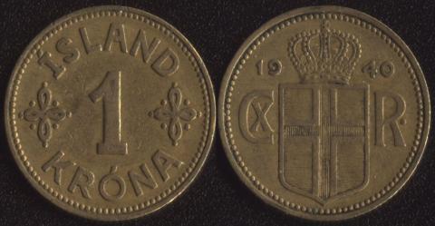 Исландия 1 крона 1940
