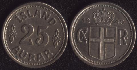 Исландия 25 аурар 1940