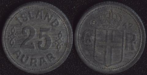 Исландия 25 аурар 1942