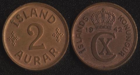 Исландия 2 аурара 1942