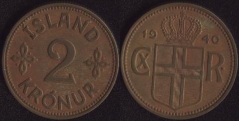 Исландия 2 кроны 1940
