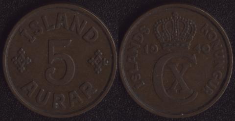 Исландия 5 аурар 1940