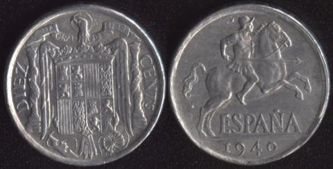 Испания 10 сентимо 1940