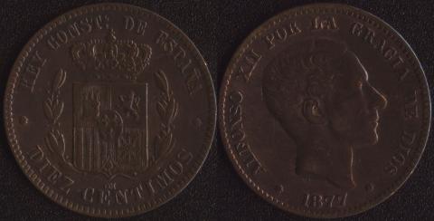 Испания 10 сентимо 1877