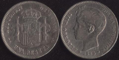 Испания 1 песета 1896