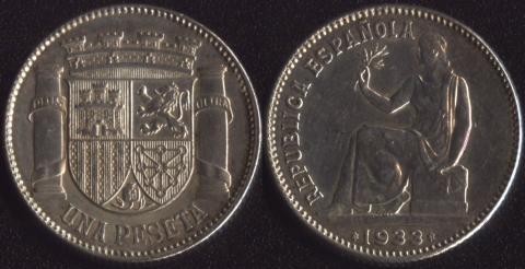 Испания 1 песета 1933