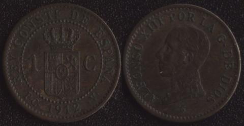 Испания 1 сантим 1912