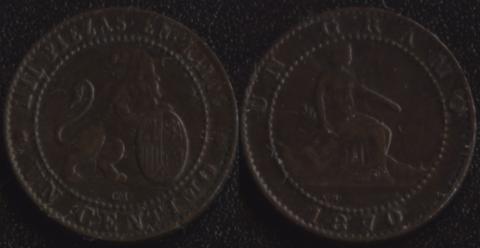 Испания 1 сентимо 1870