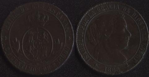 Испания 2-1/2 сентимо 1868