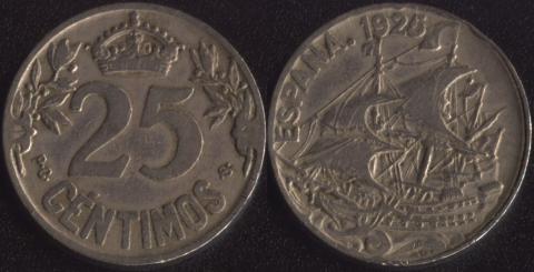 Испания 25 сентимо 1925