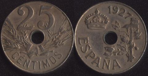 Испания 25 сентимо 1927