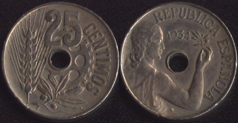 Испания 25 сентимо 1934