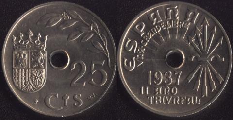 Испания 25 сентимо 1937