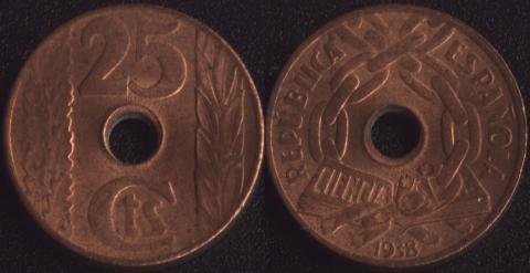 Испания 25 сентимо 1938