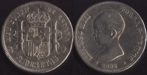 Испания 2 песеты 1892