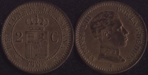 Испания 2 сентимо 1905