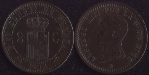 Испания 2 сентимо 1912