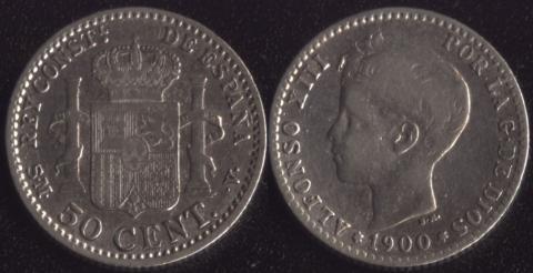 Испания 50 сентимо 1900
