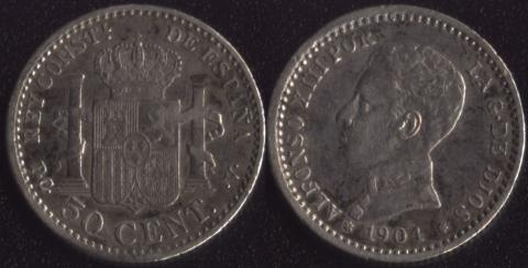 Испания 50 сентимо 1904