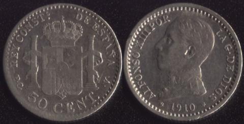 Испания 50 сентимо 1910