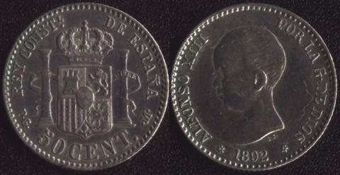 Испания 50 сентимо 1892