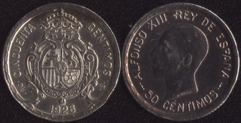 Испания 50 сентимо 1926