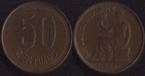 Испания 50 сентимо 1937 (круглые точки)