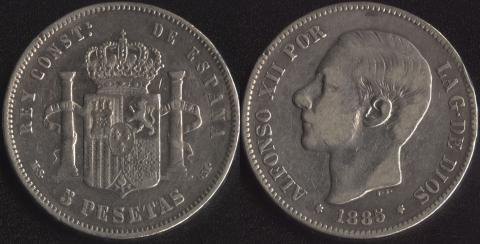 Испания 5 песет 1885
