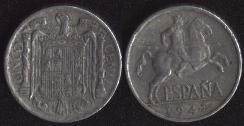Испания 5 сентимо 1944