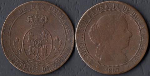 Испания 5 сентимо 1867