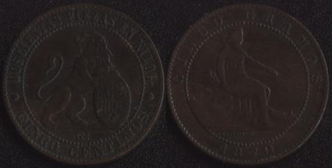 Испания 5 сентимо 1870