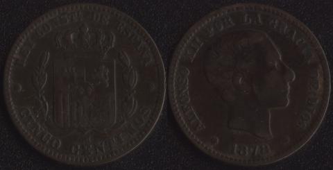 Испания 5 сентимо 1878