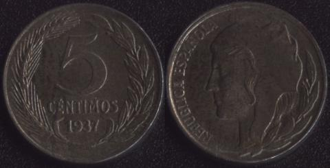 Испания 5 сентимо 1937