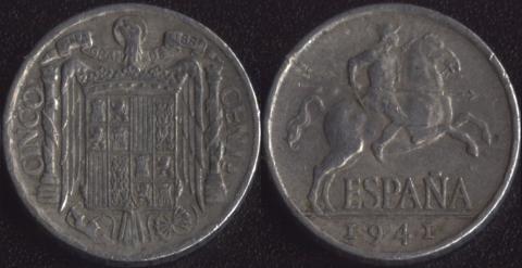 Испания 5 сентимо 1941