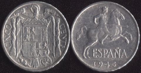 Испания 5 сентимо 1945