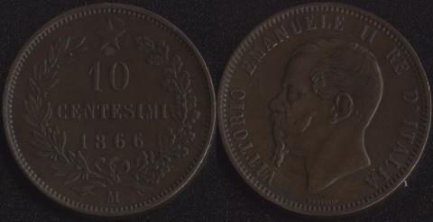 Италия 10 чентезими 1866