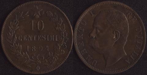 Италия 10 чентезими 1894