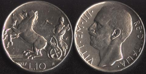 Италия 10 лир 1927