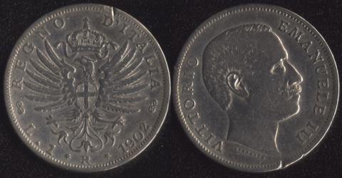 Италия 1 лира 1902