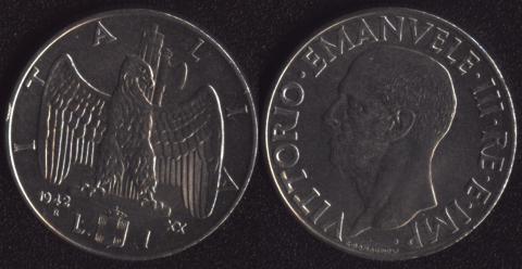 Италия 1 лира 1942