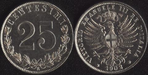 Италия 25 чентезимо 1902