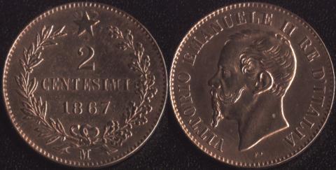 Италия 2 чентезимо 1867