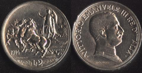 Италия 2 лиры 1914