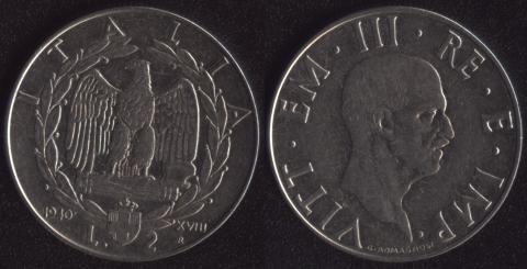 Италия 2 лиры 1940