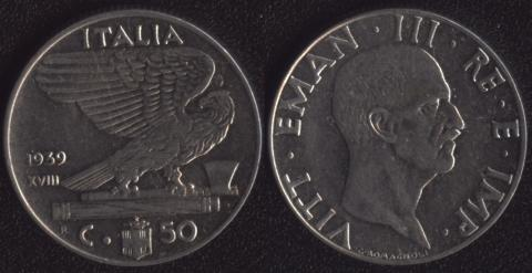 Италия 50 чентезими 1939