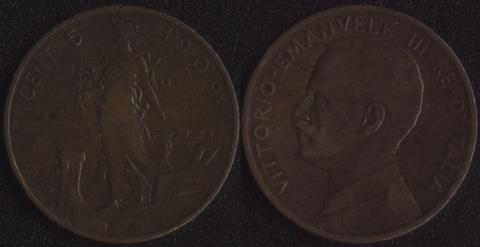 Италия 5 чентезимо 1909