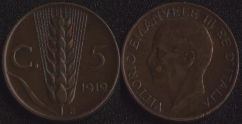 Италия 5 чентезимо 1919