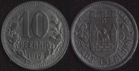 Изерлон 10 пфенигов 1917