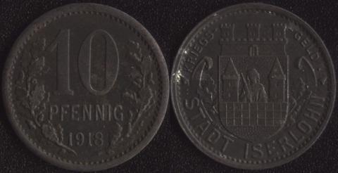 Изерлон 10 пфеннигов 1918